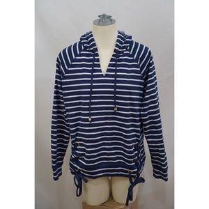 Michael Kors MK Striped Lace Up Sweatshirt Hoodie